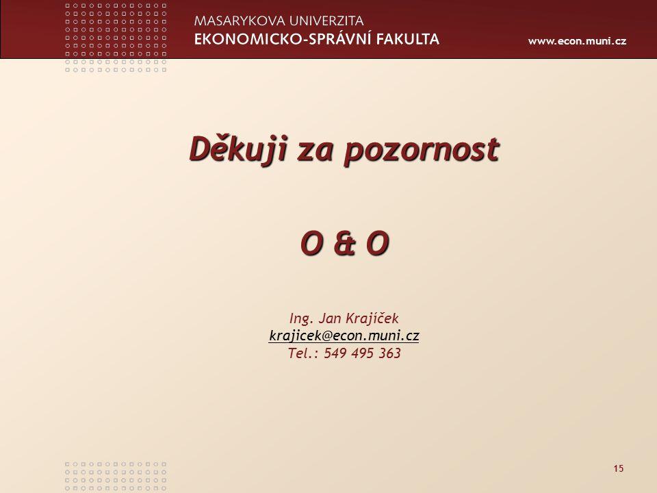 www.econ.muni.cz 15 Děkuji za pozornost O & O Ing.