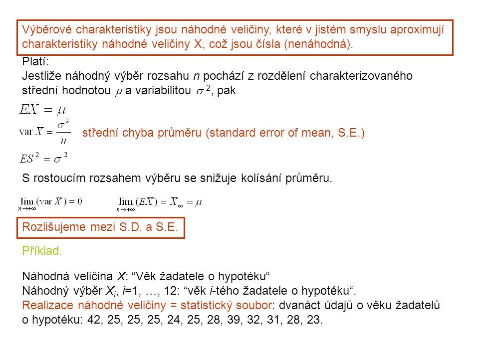 Platí: Jestliže náhodný výběr rozsahu n pochází z rozdělení charakterizovaného střední hodnotou  a variabilitou  2, pak střední chyba průměru (standard error of mean, S.E.) S rostoucím rozsahem výběru se snižuje kolísání průměru.