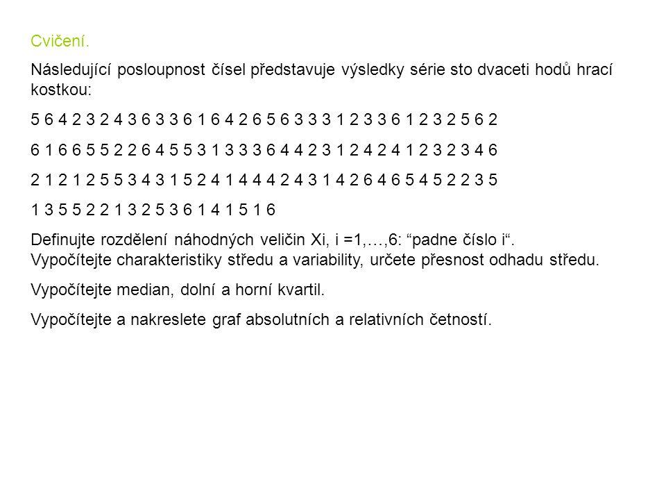 Cvičení. Následující posloupnost čísel představuje výsledky série sto dvaceti hodů hrací kostkou: 5 6 4 2 3 2 4 3 6 3 3 6 1 6 4 2 6 5 6 3 3 3 1 2 3 3