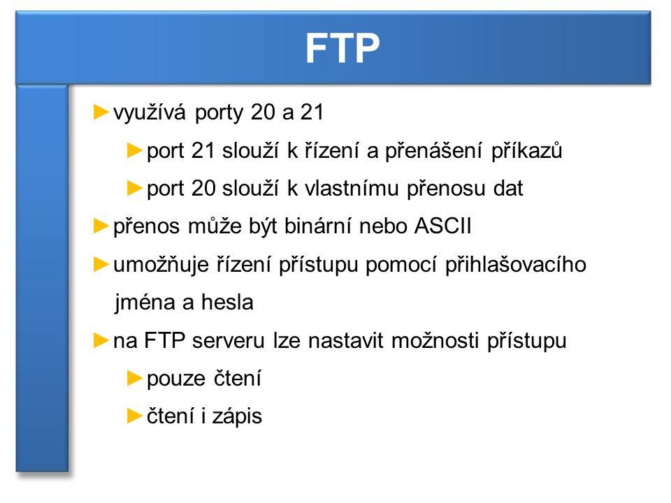 ►využívá porty 20 a 21 ►port 21 slouží k řízení a přenášení příkazů ►port 20 slouží k vlastnímu přenosu dat ►přenos může být binární nebo ASCII ►umožňuje řízení přístupu pomocí přihlašovacího jména a hesla ►na FTP serveru lze nastavit možnosti přístupu ►pouze čtení ►čtení i zápis FTP