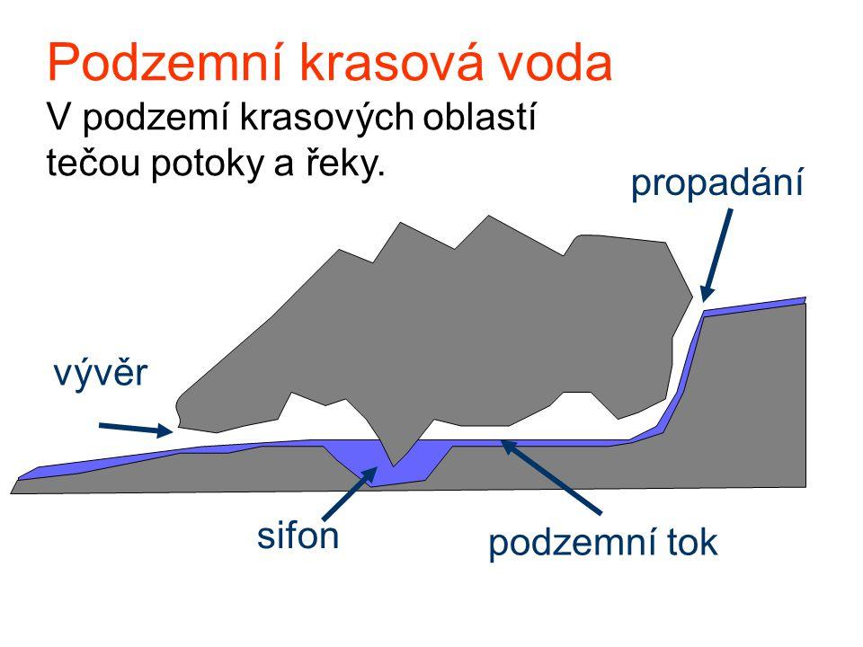 Podzemní krasová voda V podzemí krasových oblastí tečou potoky a řeky. propadání vývěr sifon podzemní tok