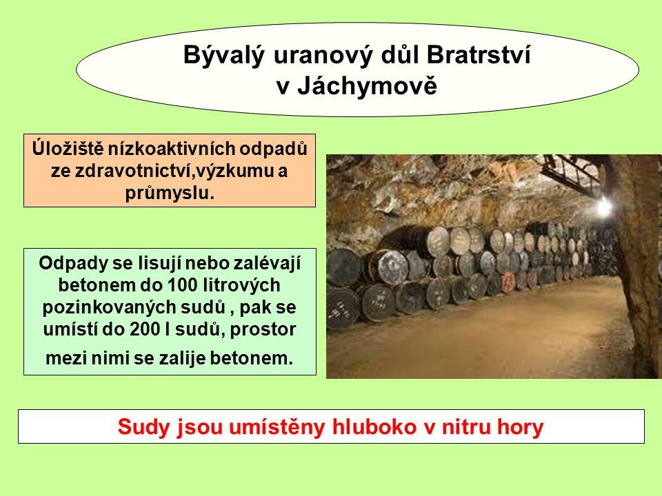 Bývalý uranový důl Bratrství v Jáchymově Úložiště nízkoaktivních odpadů ze zdravotnictví,výzkumu a průmyslu.