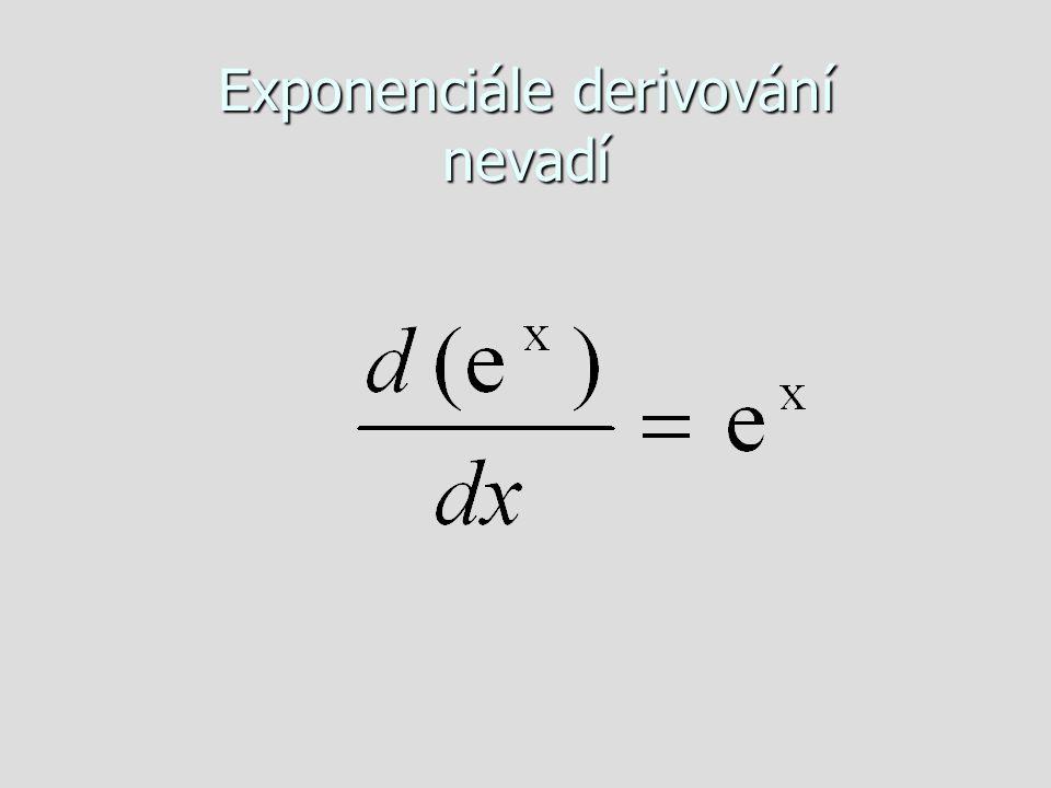Exponenciále derivování nevadí