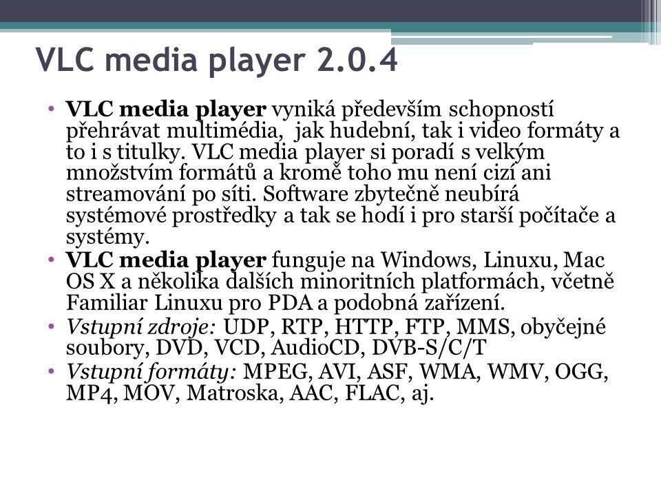 VLC media player 2.0.4 VLC media player vyniká především schopností přehrávat multimédia, jak hudební, tak i video formáty a to i s titulky.