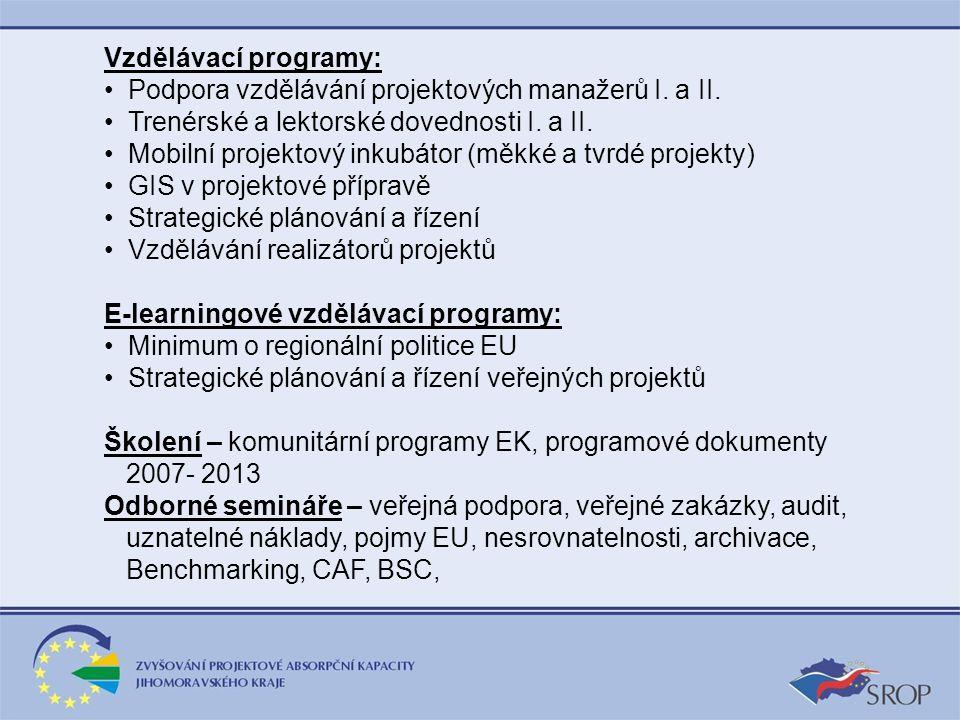Vzdělávací programy: Podpora vzdělávání projektových manažerů I. a II. Trenérské a lektorské dovednosti I. a II. Mobilní projektový inkubátor (měkké a