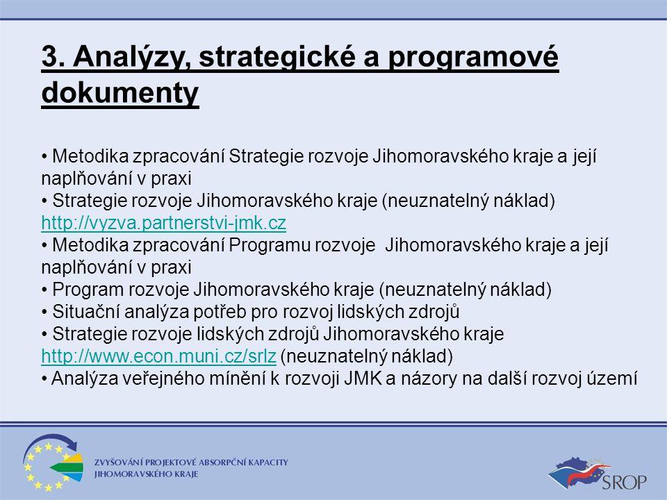 3. Analýzy, strategické a programové dokumenty Metodika zpracování Strategie rozvoje Jihomoravského kraje a její naplňování v praxi Strategie rozvoje