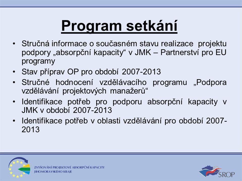 """Program setkání Stručná informace o současném stavu realizace projektu podpory """"absorpční kapacity"""" v JMK – Partnerství pro EU programy Stav příprav O"""