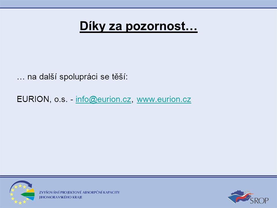 Díky za pozornost… … na další spolupráci se těší: EURION, o.s. - info@eurion.cz, www.eurion.czinfo@eurion.czwww.eurion.cz