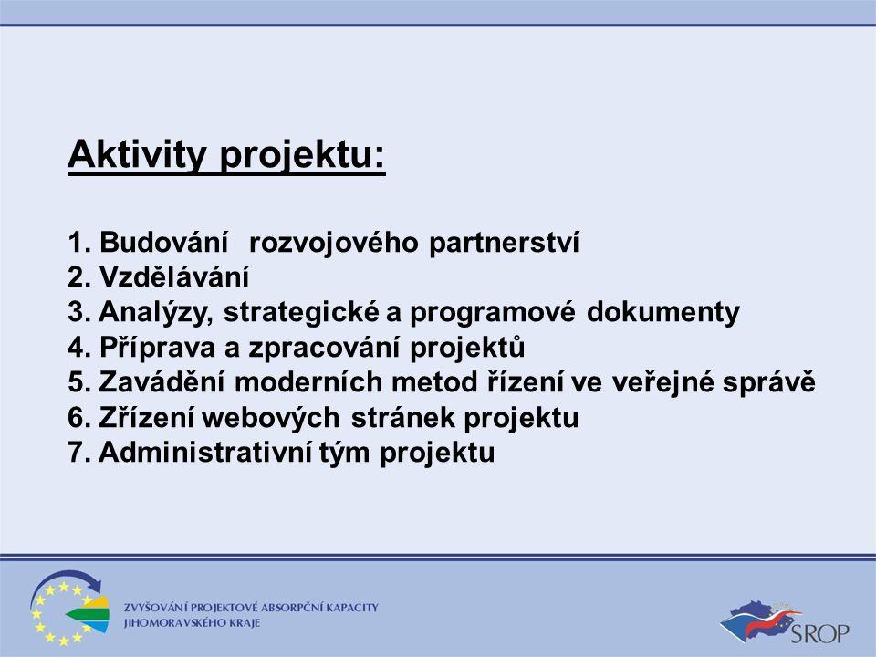Aktivity projektu: 1. Budování rozvojového partnerství 2. Vzdělávání 3. Analýzy, strategické a programové dokumenty 4. Příprava a zpracování projektů