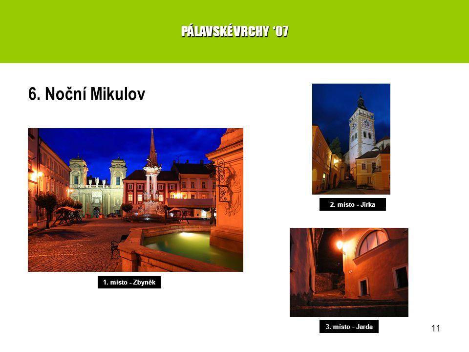 11 6. Noční Mikulov PÁLAVSKÉ VRCHY '07 1. místo - Zbyněk 2. místo - Jirka 3. místo - Jarda