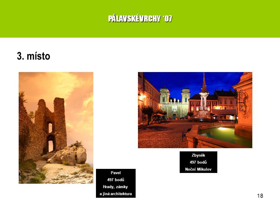 18 3. místo PÁLAVSKÉ VRCHY '07 Zbyněk 497 bodů Noční Mikulov Pavel 497 bodů Hrady, zámky a jiná architektura