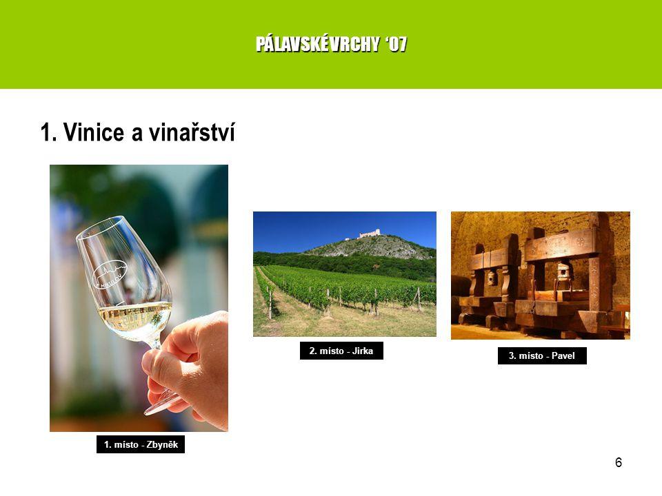 6 1. Vinice a vinařství PÁLAVSKÉ VRCHY '07 1. místo - Zbyněk 2. místo - Jirka 3. místo - Pavel