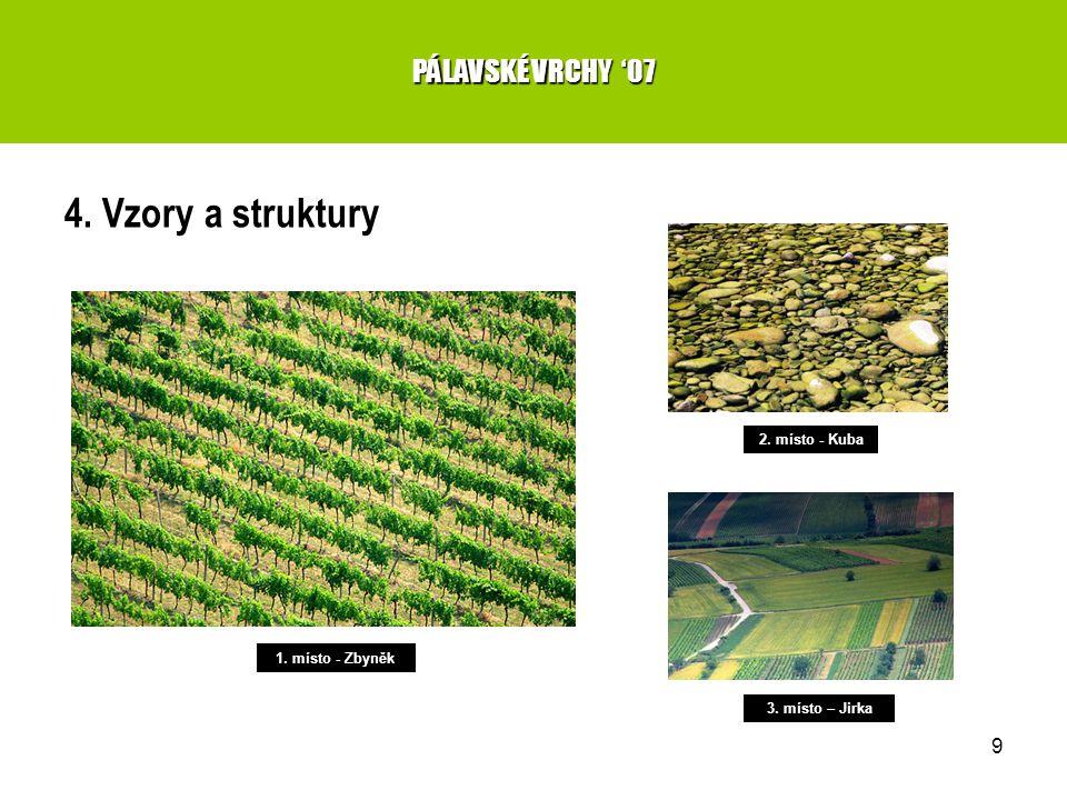 9 4. Vzory a struktury PÁLAVSKÉ VRCHY '07 1. místo - Zbyněk 2. místo - Kuba 3. místo – Jirka