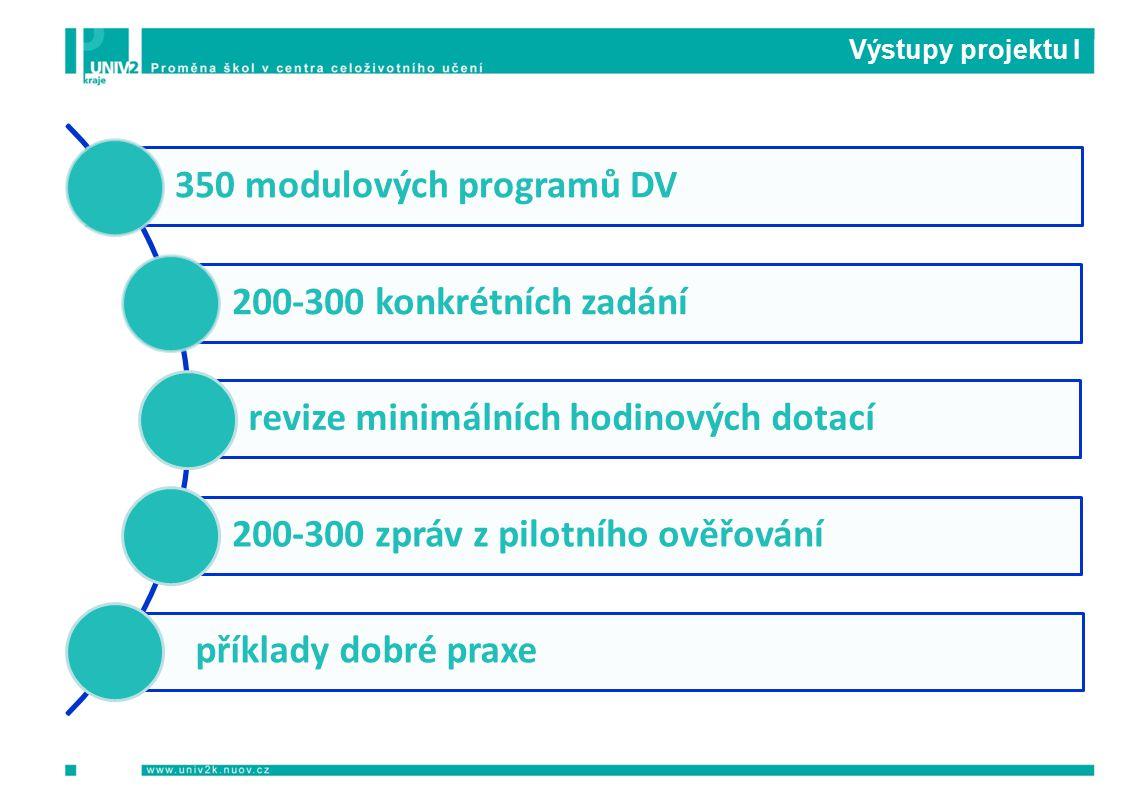 Výstupy projektu I 350 modulových programů DV 200-300 konkrétních zadání revize minimálních hodinových dotací 200-300 zpráv z pilotního ověřování příklady dobré praxe