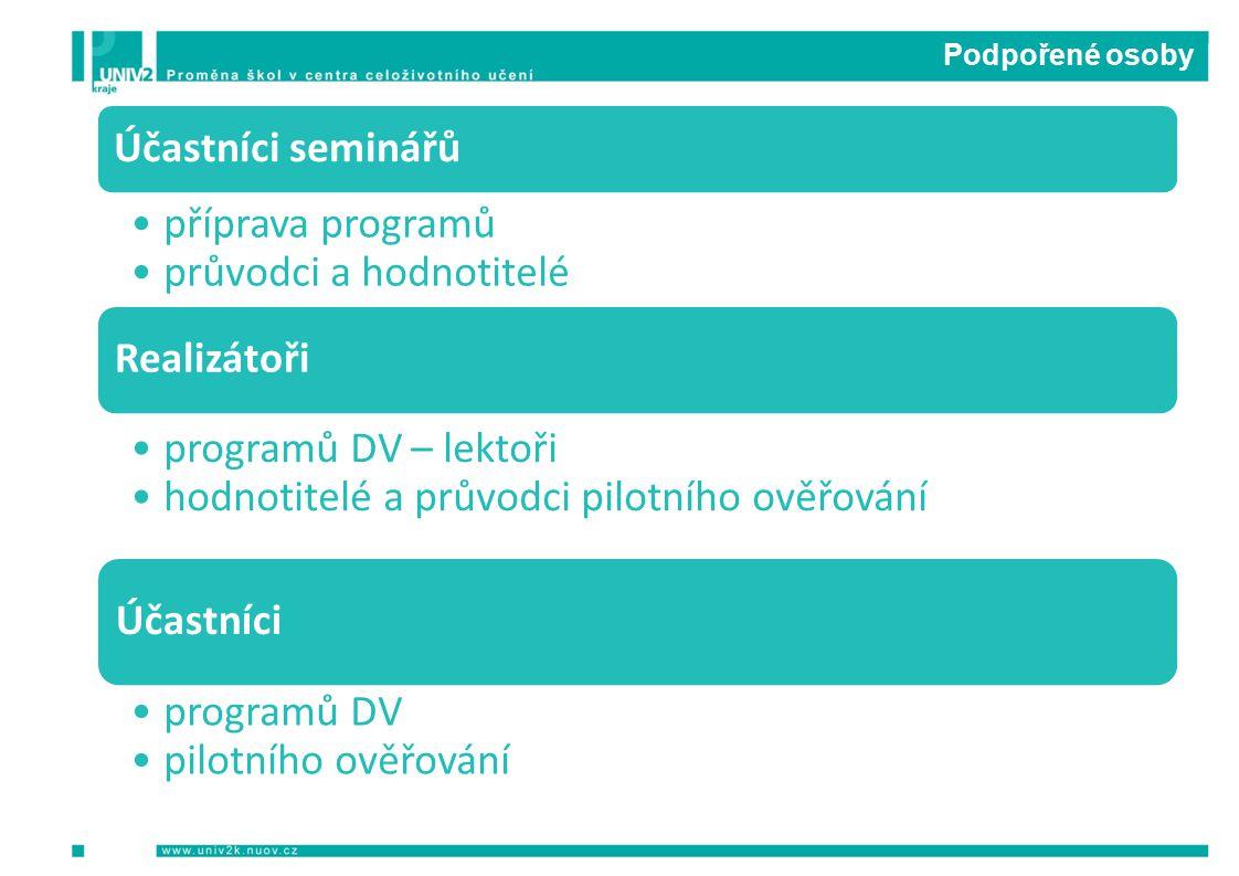 Podpořené osoby Účastníci seminářů příprava programů průvodci a hodnotitelé Realizátoři programů DV – lektoři hodnotitelé a průvodci pilotního ověřování Účastníci programů DV pilotního ověřování