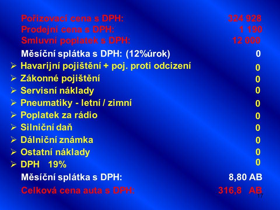 17 Pořizovací cena s DPH: 324 928 Prodejní cena s DPH: 1 190 Smluvní poplatek s DPH: 12 000 Měsíční splátka s DPH: (12%úrok) 0 Celková cena auta s DPH