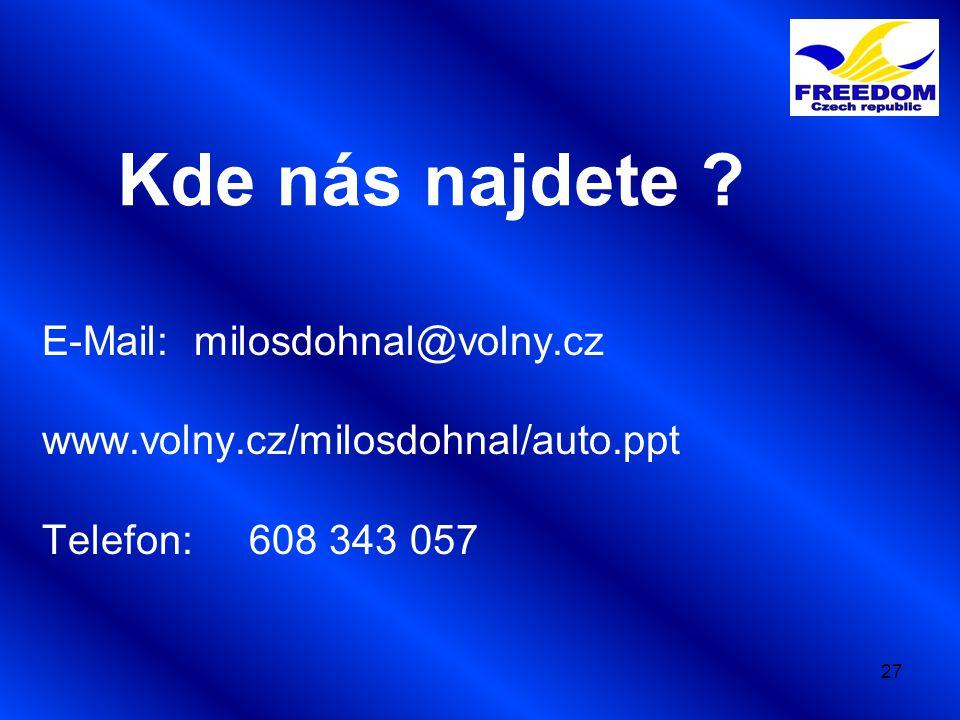 27 Kde nás najdete ? E-Mail: milosdohnal@volny.cz www.volny.cz/milosdohnal/auto.ppt Telefon: 608 343 057