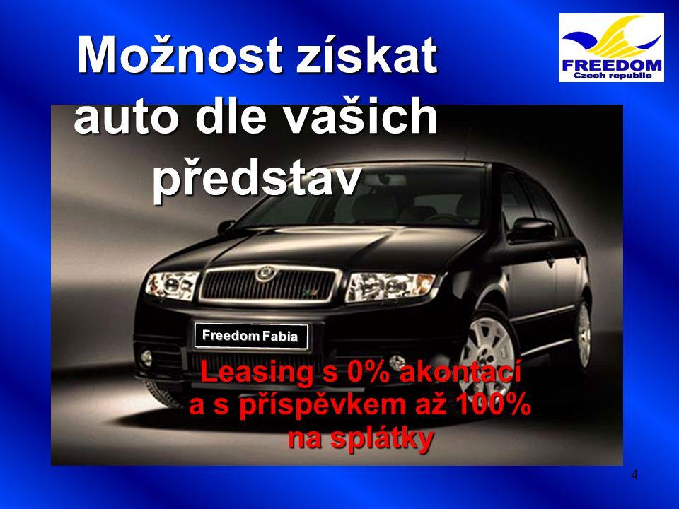 4 Freedom Fabia Možnost získat auto dle vašich představ Leasing s 0% akontací a s příspěvkem až 100% na splátky