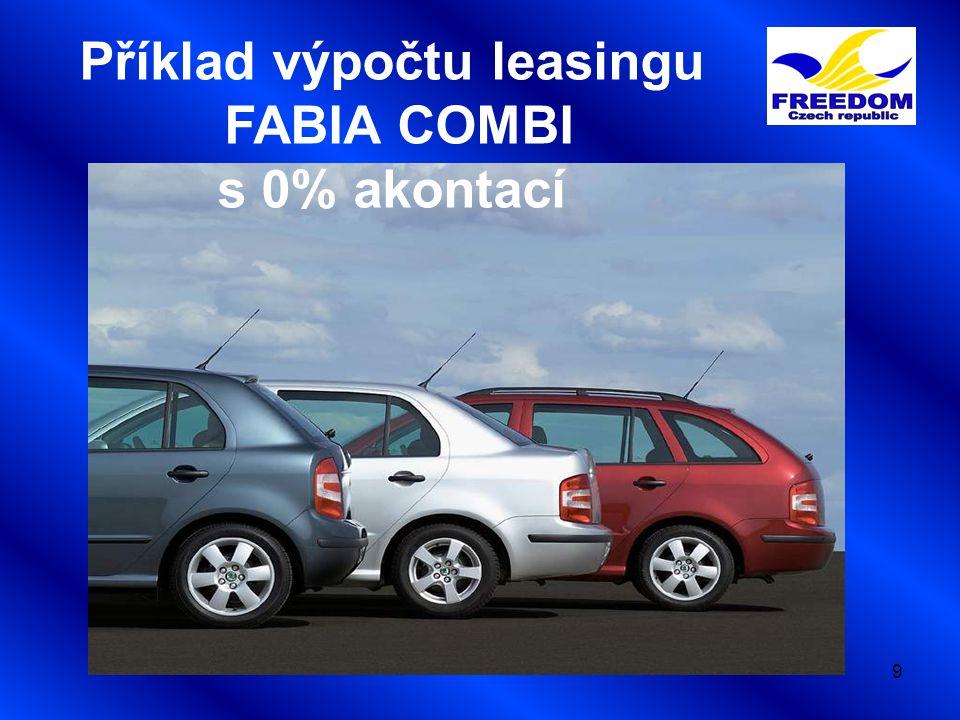 9 Příklad výpočtu leasingu FABIA COMBI s 0% akontací