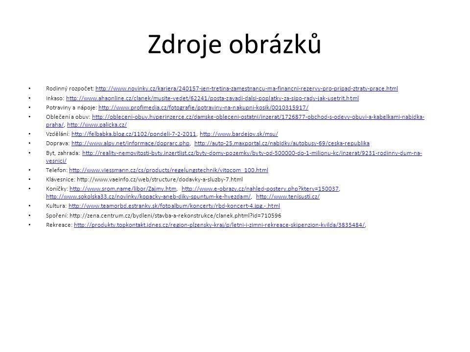 Zdroje obrázků Rodinný rozpočet: http://www.novinky.cz/kariera/240157-jen-tretina-zamestnancu-ma-financni-rezervy-pro-pripad-ztraty-prace.htmlhttp://www.novinky.cz/kariera/240157-jen-tretina-zamestnancu-ma-financni-rezervy-pro-pripad-ztraty-prace.html Inkaso: http://www.ahaonline.cz/clanek/musite-vedet/62241/posta-zavadi-dalsi-poplatky-za-sipo-rady-jak-usetrit.htmlhttp://www.ahaonline.cz/clanek/musite-vedet/62241/posta-zavadi-dalsi-poplatky-za-sipo-rady-jak-usetrit.html Potraviny a nápoje: http://www.profimedia.cz/fotografie/potraviny-na-nakupni-kosik/0010315917/http://www.profimedia.cz/fotografie/potraviny-na-nakupni-kosik/0010315917/ Oblečení a obuv: http://obleceni-obuv.hyperinzerce.cz/damske-obleceni-ostatni/inzerat/1726877-obchod-s-odevy-obuvi-a-kabelkami-nabidka- praha/, http://www.palicka.cz/http://obleceni-obuv.hyperinzerce.cz/damske-obleceni-ostatni/inzerat/1726877-obchod-s-odevy-obuvi-a-kabelkami-nabidka- praha/http://www.palicka.cz/ Vzdělání: http://felbabka.blog.cz/1102/pondeli-7-2-2011, http://www.bardejov.sk/msu/http://felbabka.blog.cz/1102/pondeli-7-2-2011http://www.bardejov.sk/msu/ Doprava: http://www.alpy.net/informace/doprarc.php, http://auto-25.maxportal.cz/nabidky/autobusy-69/ceska-republikahttp://www.alpy.net/informace/doprarc.phphttp://auto-25.maxportal.cz/nabidky/autobusy-69/ceska-republika Byt, zahrada: http://reality-nemovitosti-byty.inzertlist.cz/byty-domy-pozemky/byty-od-500000-do-1-milionu-kc/inzerat/9231-rodinny-dum-na- vesnici/http://reality-nemovitosti-byty.inzertlist.cz/byty-domy-pozemky/byty-od-500000-do-1-milionu-kc/inzerat/9231-rodinny-dum-na- vesnici/ Telefon: http://www.viessmann.cz/cs/products/regelungstechnik/vitocom_100.htmlhttp://www.viessmann.cz/cs/products/regelungstechnik/vitocom_100.html Klávesnice: http://www.vaeinfo.cz/web/structure/dodavky-a-sluzby-7.html Koníčky: http://www.srom.name/libor/Zajmy.htm, http://www.e-obrazy.cz/nahled-postery.php?ktery=150037, http://www.sokolska33.cz/novinky/kopacky-aneb-diky-spuntum-ke-h