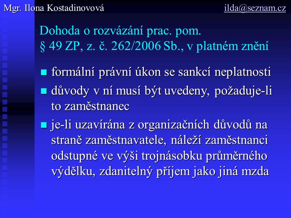 Dohoda o rozvázání prac. pom. § 49 ZP, z. č.
