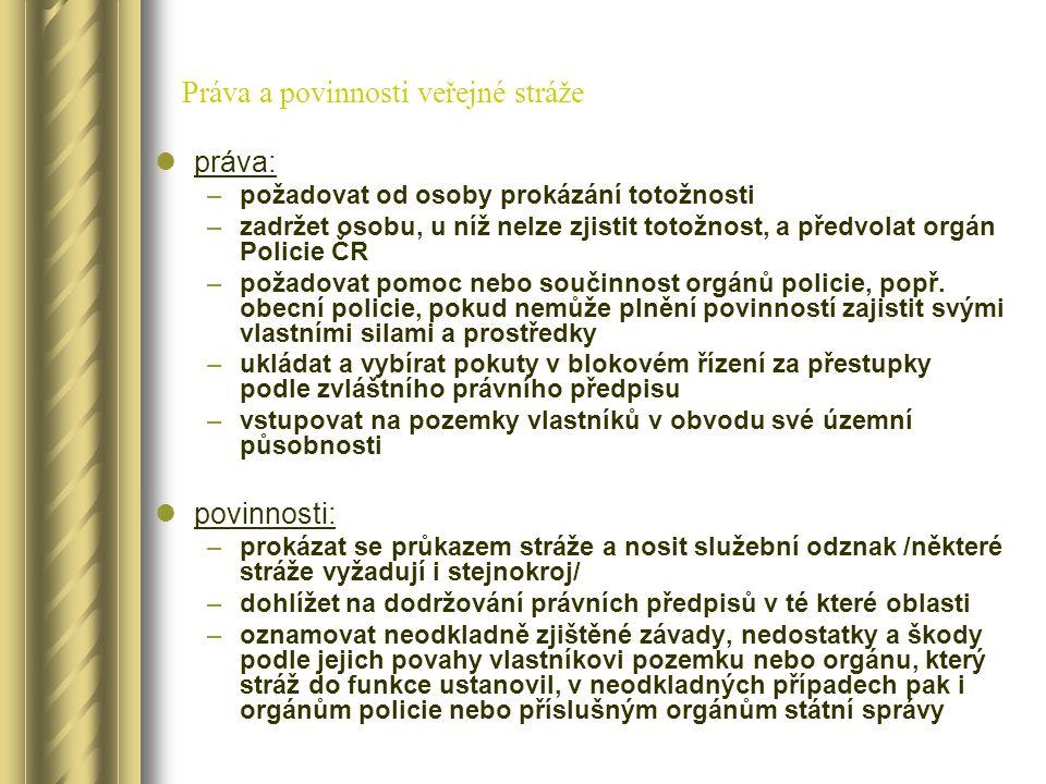Práva a povinnosti veřejné stráže práva: –požadovat od osoby prokázání totožnosti –zadržet osobu, u níž nelze zjistit totožnost, a předvolat orgán Pol