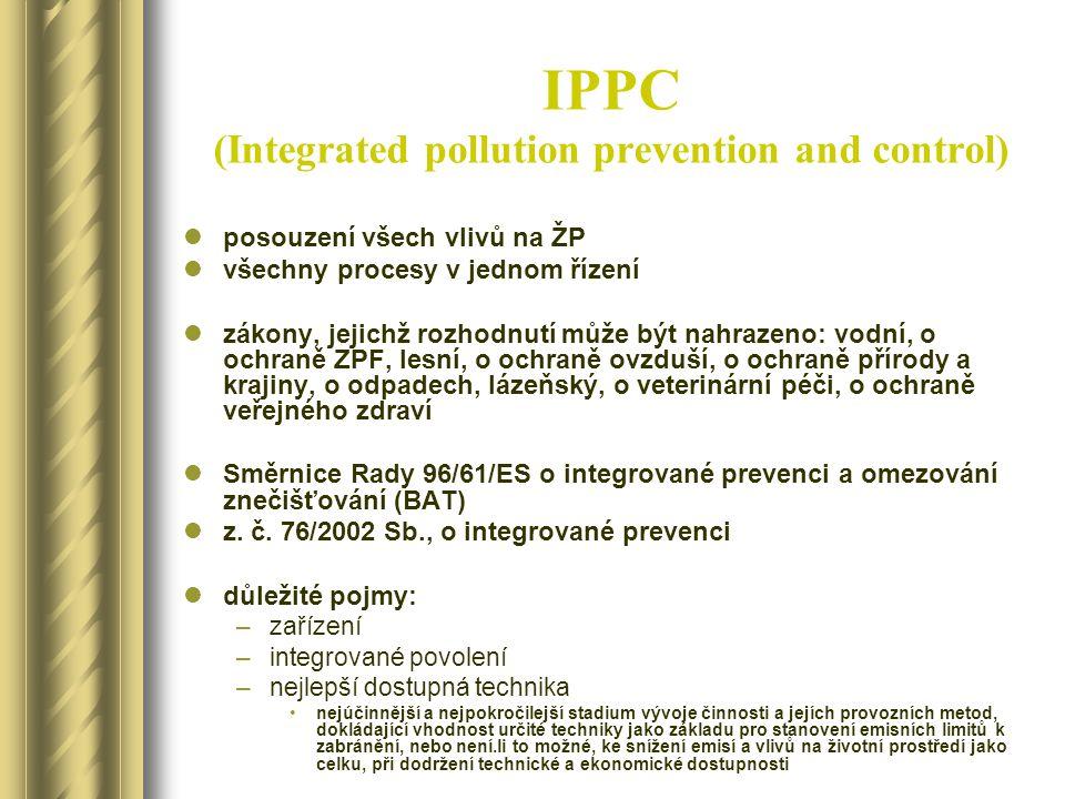 IPPC (Integrated pollution prevention and control) posouzení všech vlivů na ŽP všechny procesy v jednom řízení zákony, jejichž rozhodnutí může být nah