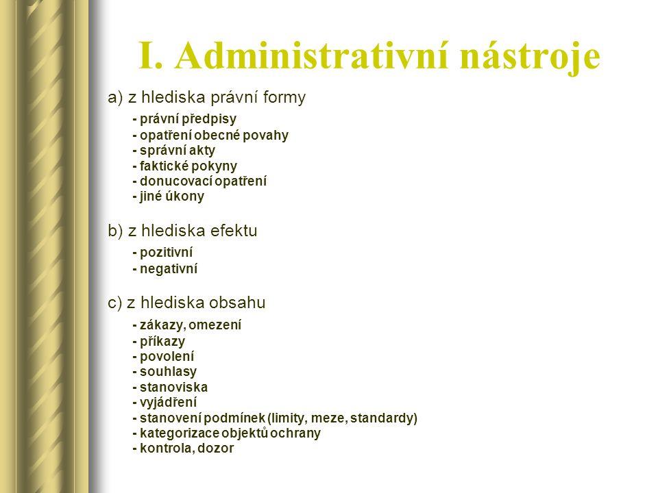 I. Administrativní nástroje a) z hlediska právní formy - právní předpisy - opatření obecné povahy - správní akty - faktické pokyny - donucovací opatře