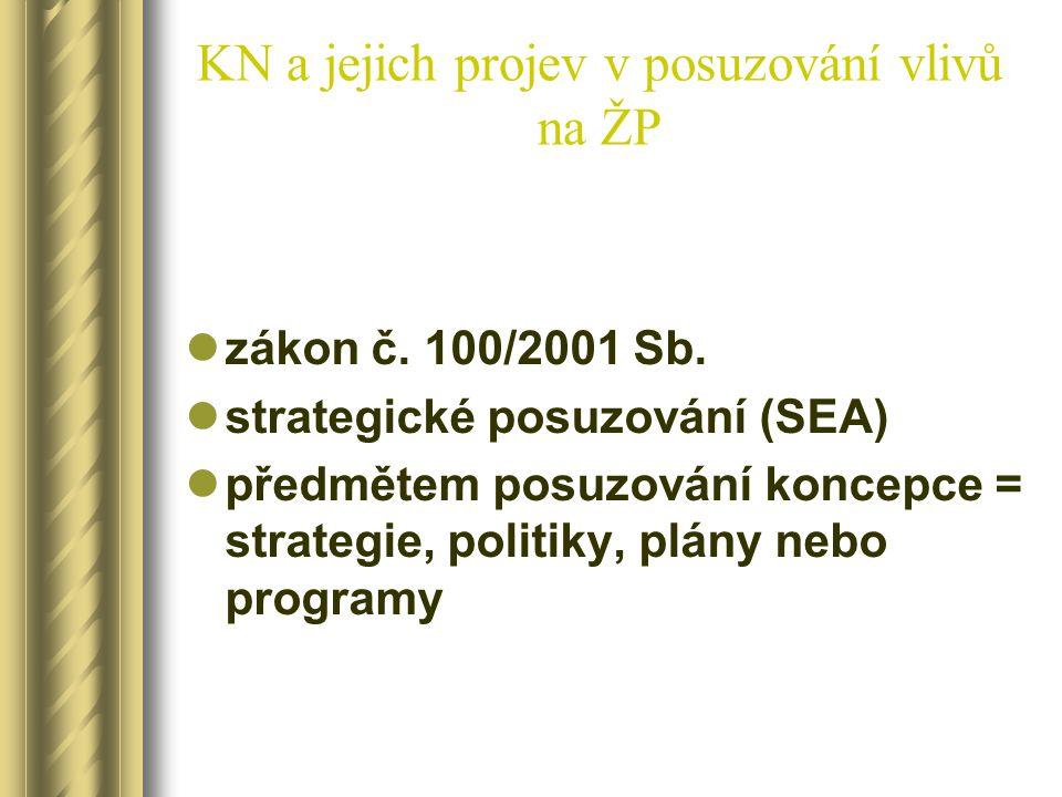 KN a jejich projev v posuzování vlivů na ŽP zákon č. 100/2001 Sb. strategické posuzování (SEA) předmětem posuzování koncepce = strategie, politiky, pl