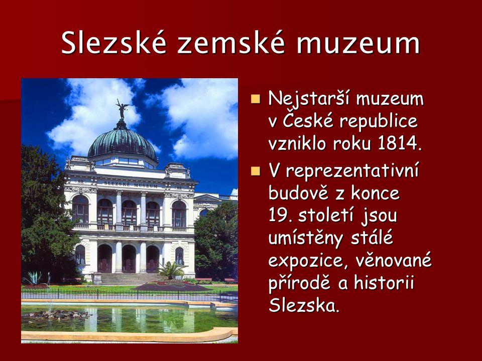 Slezské zemské muzeum Nejstarší muzeum v České republice vzniklo roku 1814.