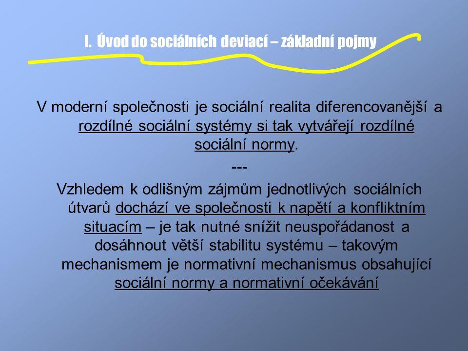 I. Úvod do sociálních deviací – základní pojmy V moderní společnosti je sociální realita diferencovanější a rozdílné sociální systémy si tak vytvářejí