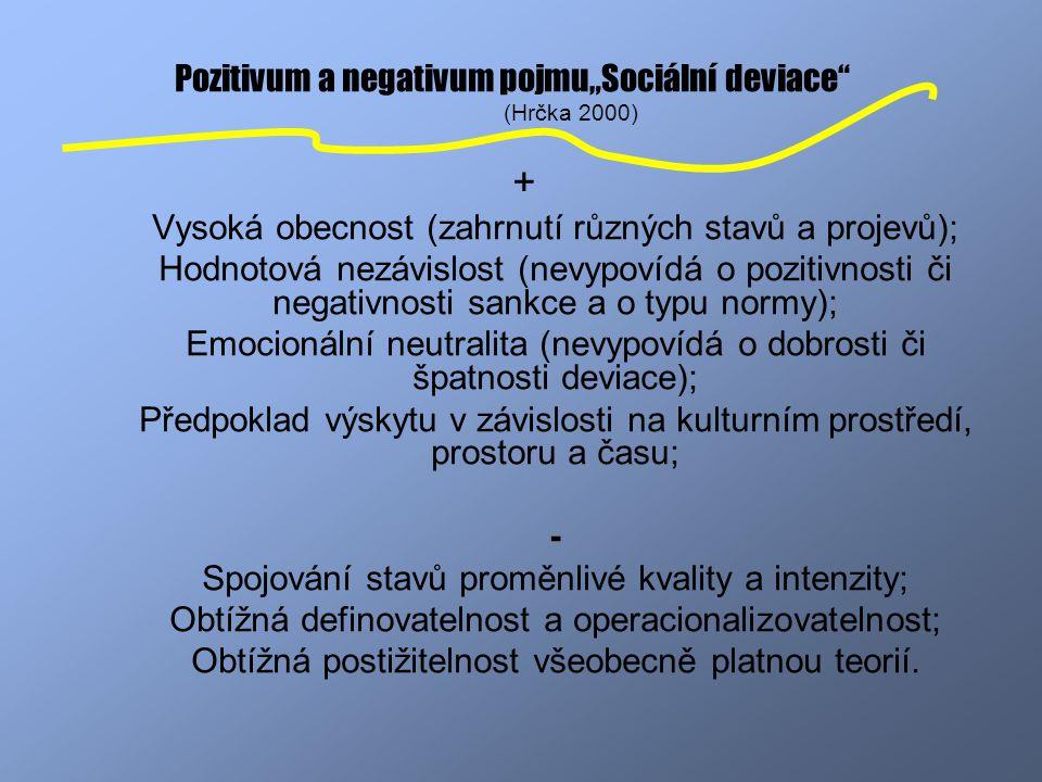 """Pozitivum a negativum pojmu""""Sociální deviace"""" (Hrčka 2000) + Vysoká obecnost (zahrnutí různých stavů a projevů); Hodnotová nezávislost (nevypovídá o p"""