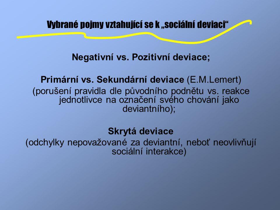 """Vybrané pojmy vztahující se k """"sociální deviaci"""" Negativní vs. Pozitivní deviace; Primární vs. Sekundární deviace (E.M.Lemert) (porušení pravidla dle"""
