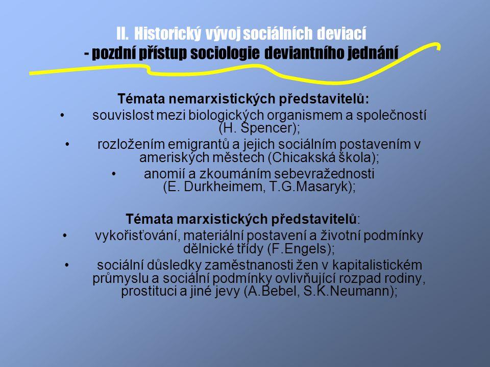 II. Historický vývoj sociálních deviací - pozdní přístup sociologie deviantního jednání Témata nemarxistických představitelů: souvislost mezi biologic