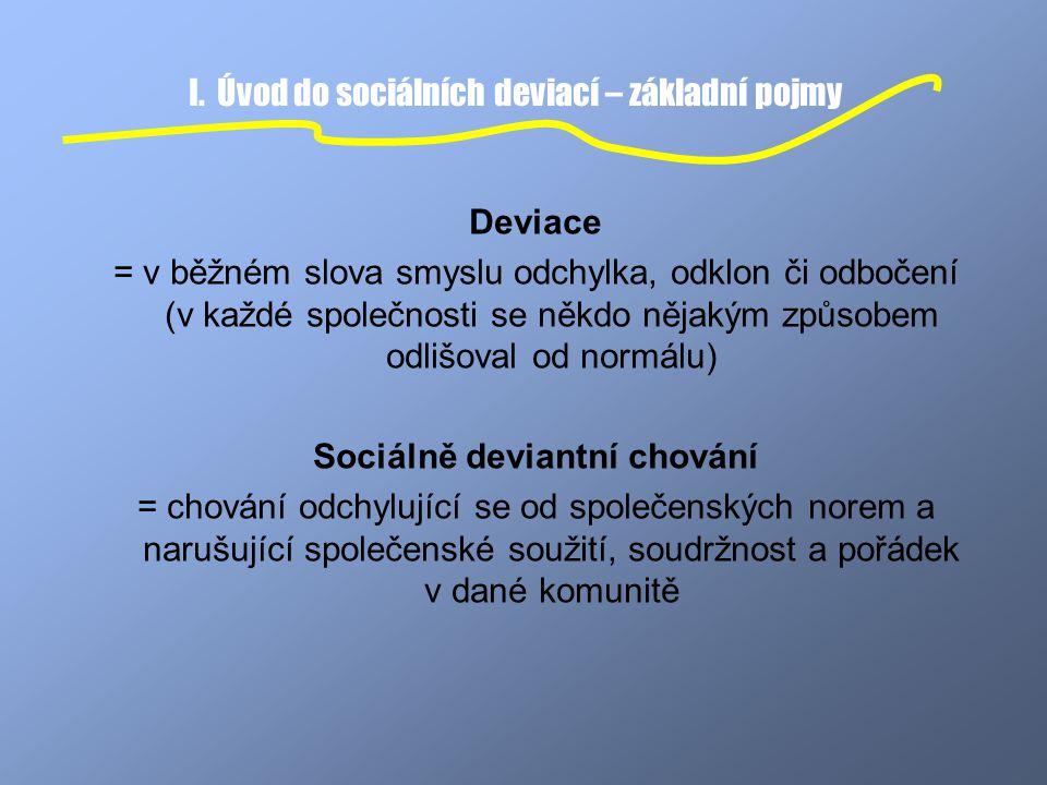 I. Úvod do sociálních deviací – základní pojmy Deviace = v běžném slova smyslu odchylka, odklon či odbočení (v každé společnosti se někdo nějakým způs