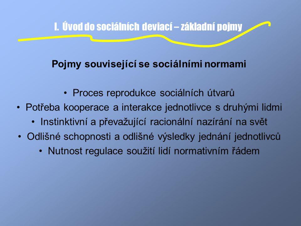 I. Úvod do sociálních deviací – základní pojmy Pojmy související se sociálními normami Proces reprodukce sociálních útvarů Potřeba kooperace a interak