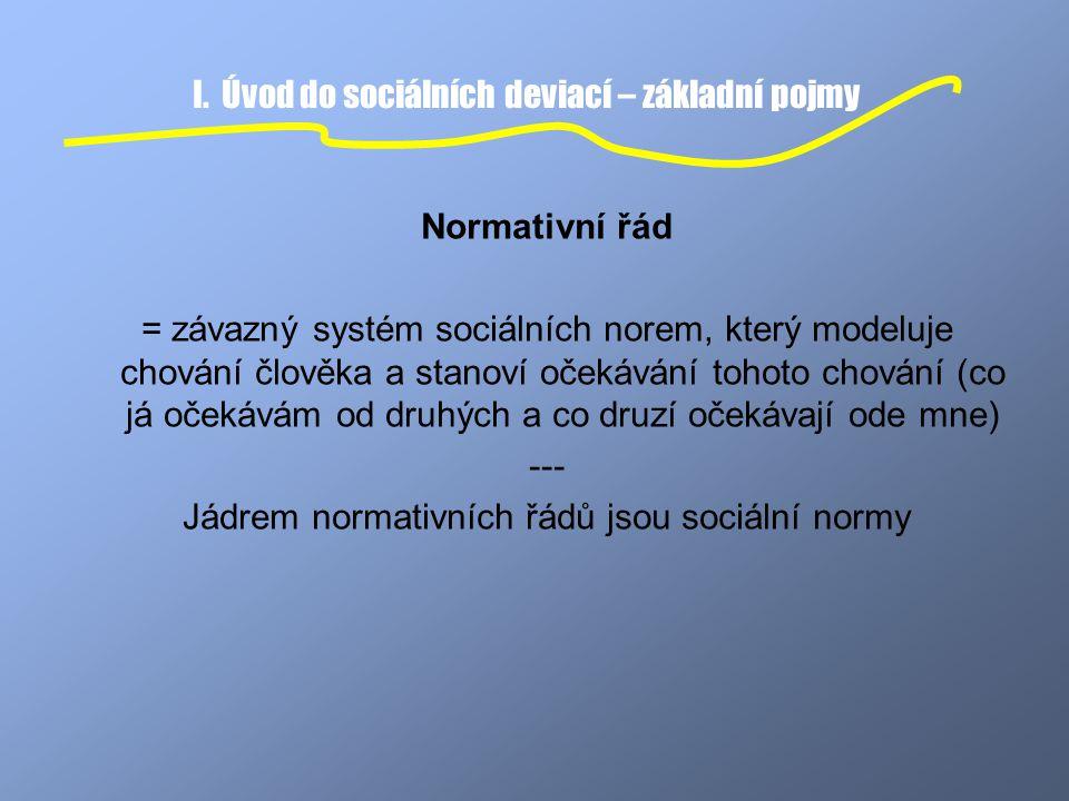 I. Úvod do sociálních deviací – základní pojmy Normativní řád = závazný systém sociálních norem, který modeluje chování člověka a stanoví očekávání to