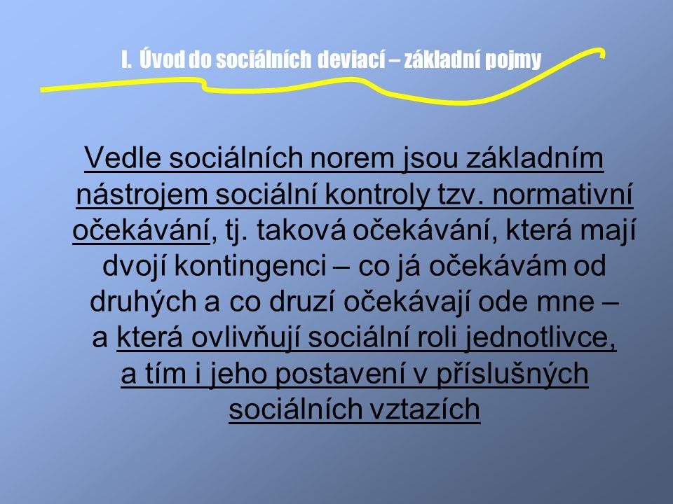 I. Úvod do sociálních deviací – základní pojmy Vedle sociálních norem jsou základním nástrojem sociální kontroly tzv. normativní očekávání, tj. taková