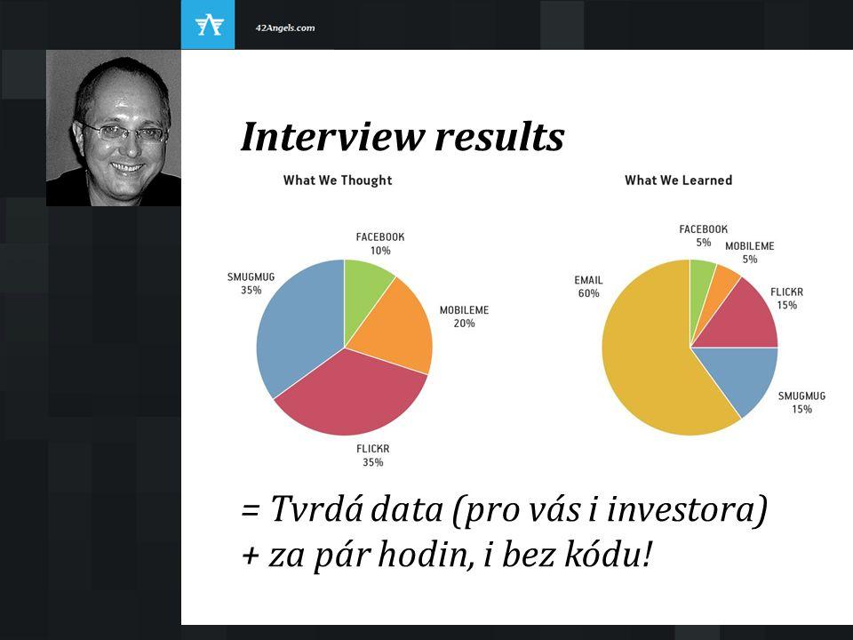 Interview results = Tvrdá data (pro vás i investora) + za pár hodin, i bez kódu!
