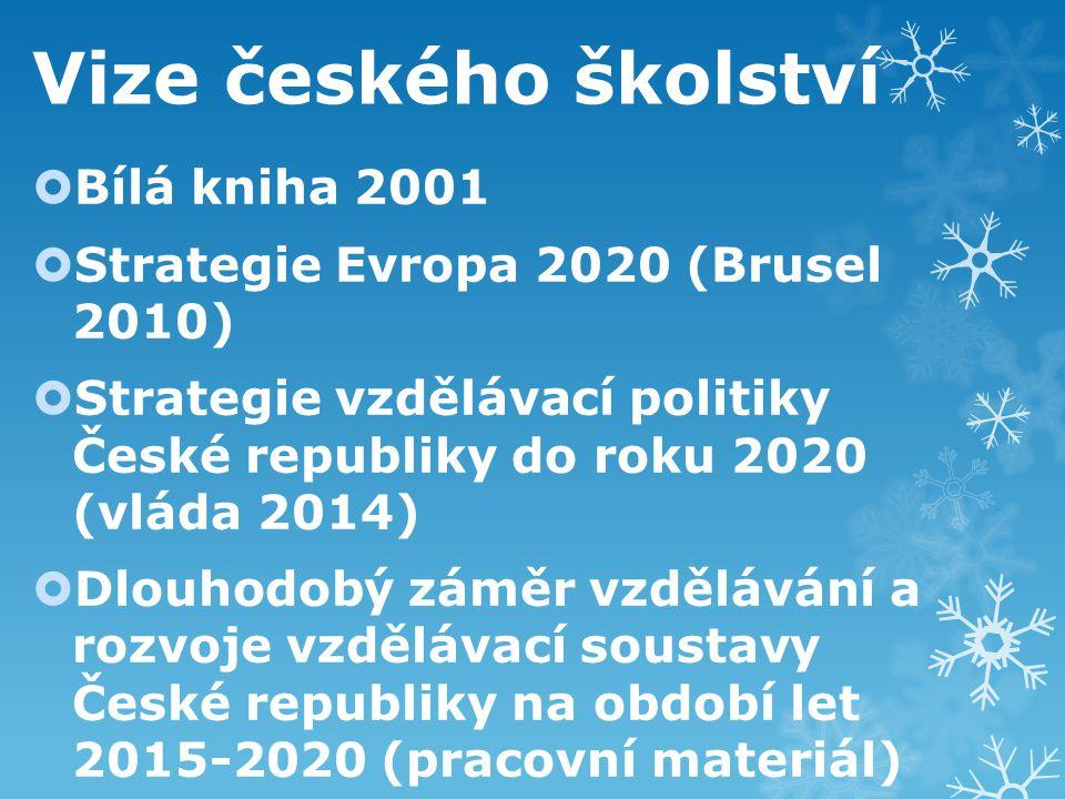 Vize českého školství  Bílá kniha 2001  Strategie Evropa 2020 (Brusel 2010)  Strategie vzdělávací politiky České republiky do roku 2020 (vláda 2014