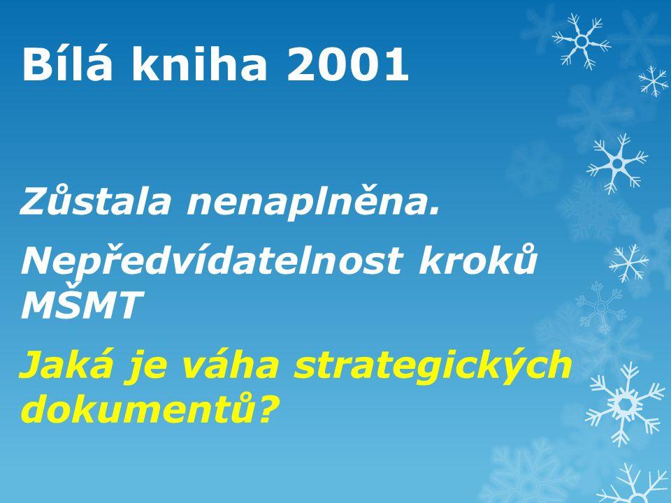 Bílá kniha 2001 Zůstala nenaplněna. Nepředvídatelnost kroků MŠMT Jaká je váha strategických dokumentů?