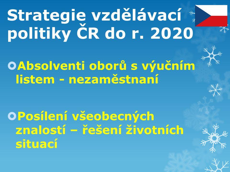 Strategie vzdělávací politiky ČR do r. 2020  Absolventi oborů s výučním listem - nezaměstnaní  Posílení všeobecných znalostí – řešení životních situ
