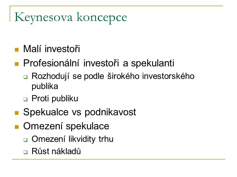 Keynesova koncepce Malí investoři Profesionální investoři a spekulanti  Rozhodují se podle širokého investorského publika  Proti publiku Spekualce vs podnikavost Omezení spekulace  Omezení likvidity trhu  Růst nákladů