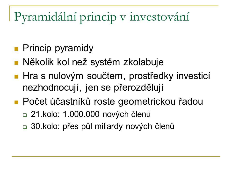 Pyramidální princip v investování Princip pyramidy Několik kol než systém zkolabuje Hra s nulovým součtem, prostředky investicí nezhodnocují, jen se přerozdělují Počet účastníků roste geometrickou řadou  21.kolo: 1.000.000 nových členů  30.kolo: přes půl miliardy nových členů