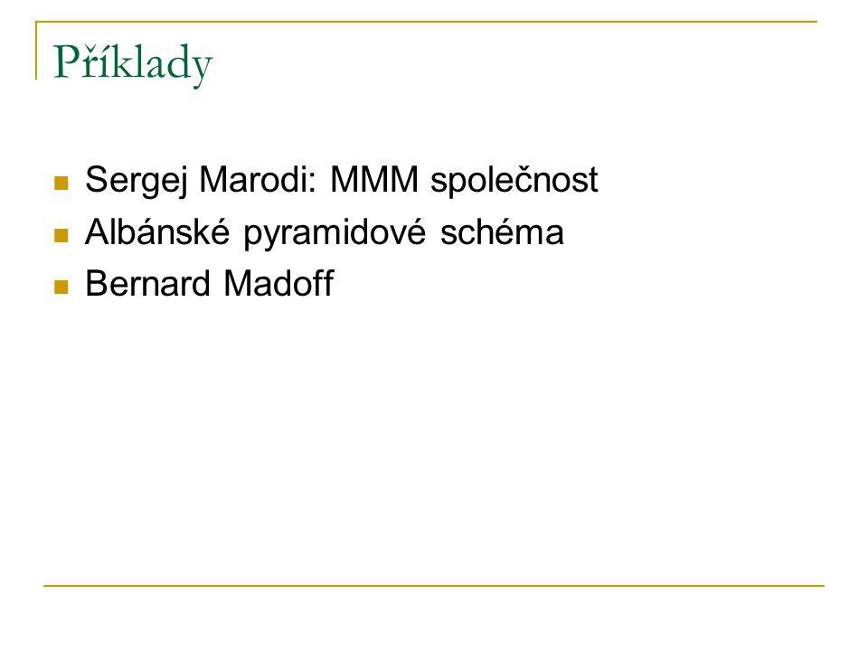 Příklady Sergej Marodi: MMM společnost Albánské pyramidové schéma Bernard Madoff