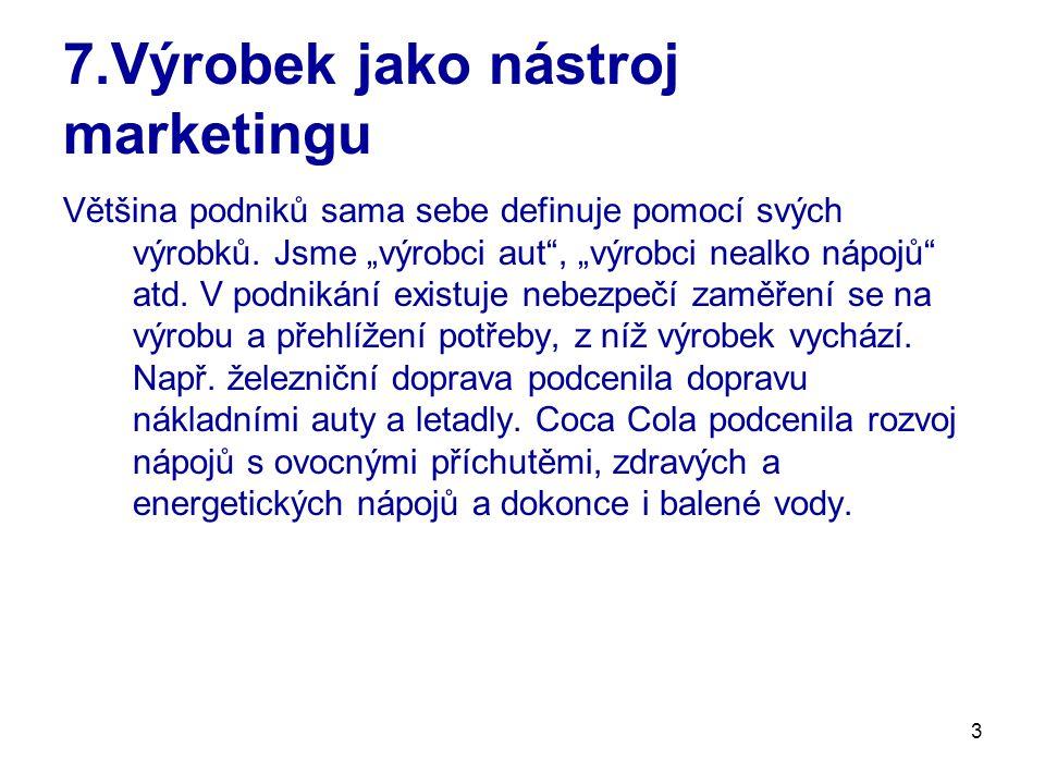 3 7.Výrobek jako nástroj marketingu Většina podniků sama sebe definuje pomocí svých výrobků.