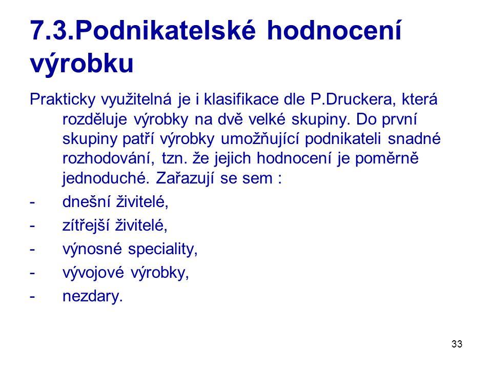 33 7.3.Podnikatelské hodnocení výrobku Prakticky využitelná je i klasifikace dle P.Druckera, která rozděluje výrobky na dvě velké skupiny.