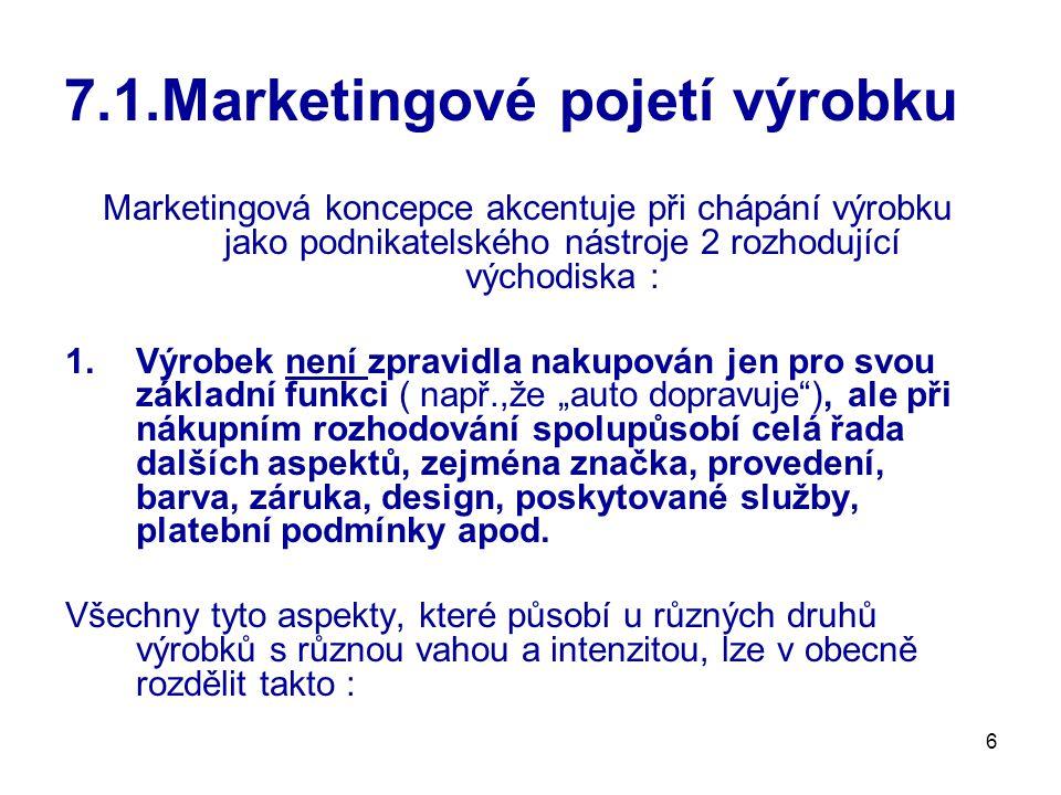 """6 7.1.Marketingové pojetí výrobku Marketingová koncepce akcentuje při chápání výrobku jako podnikatelského nástroje 2 rozhodující východiska : 1.Výrobek není zpravidla nakupován jen pro svou základní funkci ( např.,že """"auto dopravuje ), ale při nákupním rozhodování spolupůsobí celá řada dalších aspektů, zejména značka, provedení, barva, záruka, design, poskytované služby, platební podmínky apod."""