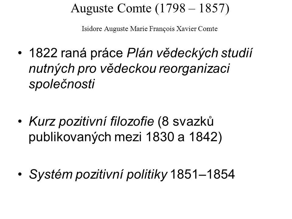Auguste Comte (1798 – 1857) Isidore Auguste Marie François Xavier Comte 1822 raná práce Plán vědeckých studií nutných pro vědeckou reorganizaci společnosti Kurz pozitivní filozofie (8 svazků publikovaných mezi 1830 a 1842) Systém pozitivní politiky 1851–1854