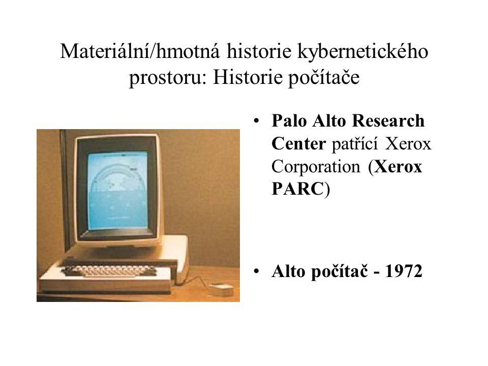 Materiální/hmotná historie kybernetického prostoru: Historie počítače Palo Alto Research Center patřící Xerox Corporation (Xerox PARC) Alto počítač -